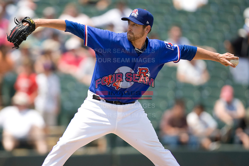 Pitcher Michael Kirkman #44 of the Round Rock Express delivers against the Nashville Sounds in Pacific Coast League baseball on May 9, 2011 at the Dell Diamond in Round Rock, Texas. (Photo by Andrew Woolley / Four Seam Images)