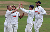 Jamie Porter (left) of Essex celebrates taking the wicket of Kraigg Braithwaite during Nottinghamshire CCC vs Essex CCC, Specsavers County Championship Division 1 Cricket at Trent Bridge on 10th September 2018