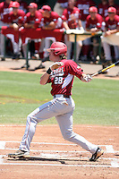Kyle Robinson #28 of the Arkansas Razorbacks plays against the Charlotte 49ers in the Tempe Regional of the NCAA baseball post-season at Packard Stadium on June 5, 2011 in Tempe, Arizona. .Photo by:  Bill Mitchell/Four Seam Images.