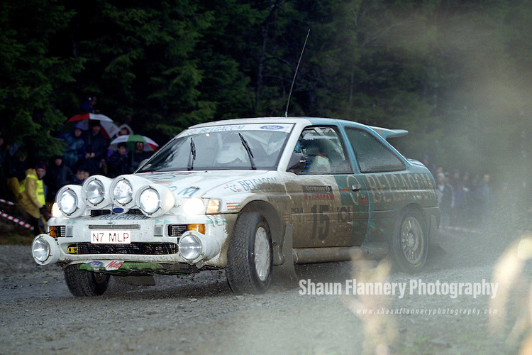 Pix: Shaun Flannery/shaunflanneryphotography.com...COPYRIGHT PICTURE>>SHAUN FLANNERY>01302-570814>>07778315553>>..1995 Network Q RAC Rally..19th November - 22nd November 1995..Gregoire de Mevius and Jean-Marc Fortin..Ford Escort RS Cosworth.Belgacom TURBO Team