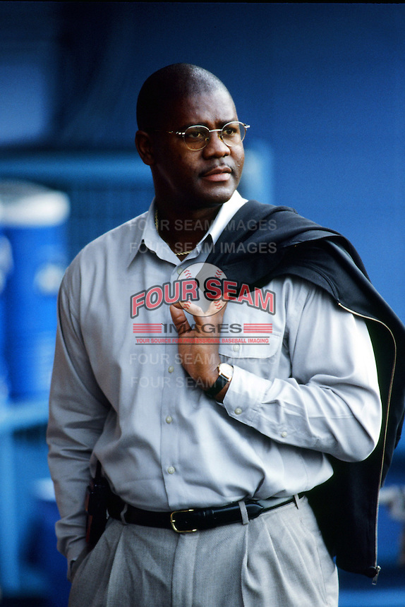 Doc Rogers of the Cincinnati Reds in the dugout before a 1999 Major League Baseball season game against the Los Angeles Dodgers in Los Angeles, California. (Larry Goren/Four Seam Images)