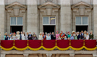 17 June 2017 - London, England - Queen Elizabeth II and Prince Philip, Duke of Edinburgh, Prince William, Catherine, Kate, Duchess of Cambridge and Prince George and Princess Charlotte, Prince Harry<br /> Prince Charles, Prince of Wales and Camilla, Duchess of Cornwall, Princess and Eugenie and Princess Beatrice and Prince Andrew and Prince Edward, Sophie, Countess of Wessex and Louise Windsor and James, Princess Anne. The ceremony of the Trooping the Colour, marking the monarch's official birthday, in London. Photo Credit: PPE/face to face/AdMedia