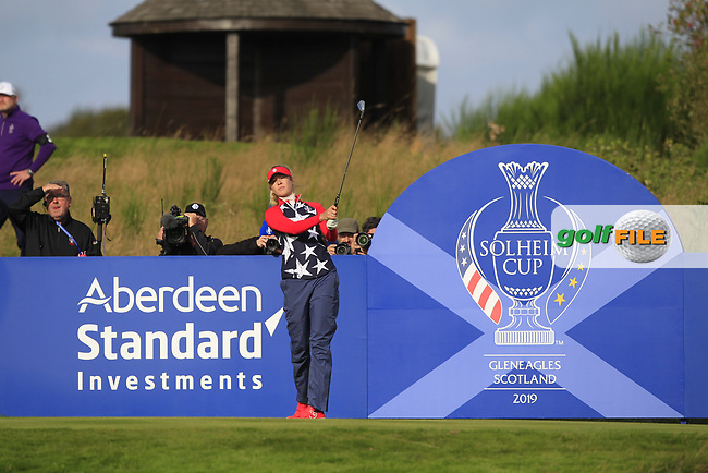 Nelly Korda of Team USA on the 6th tee during Day 1 Foursomes at the Solheim Cup 2019, Gleneagles Golf CLub, Auchterarder, Perthshire, Scotland. 13/09/2019.<br /> Picture Thos Caffrey / Golffile.ie<br /> <br /> All photo usage must carry mandatory copyright credit (© Golffile | Thos Caffrey)
