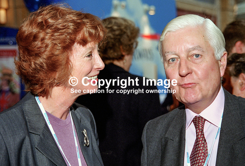 Baroness Patricia Hollis, Life Peer, UK, Labour Party,  with Peter Temple-Morris, MP, UK, Labour Party, at annual conference in Blackpool.199810126.<br /> <br /> Copyright Image from Victor Patterson,<br /> 54 Dorchester Park, <br /> Belfast, UK, BT9 6RJ<br /> <br /> t1: +44 28 9066 1296 (from Rep of Ireland 048 9066 1296)<br /> t2: +44 28 9002 2446 (from Rep of Ireland 048 9002 2446)<br /> <br /> m: +44 7802 353836<br /> <br /> e: victorpatterson@me.com<br /> www.victorpatterson.com<br /> <br /> Please see my Terms and Conditions of Use at www.victorpatterson.com. It is IMPORTANT that you familiarise yourself with them.<br /> <br /> Images used on the Internet must be visibly watermarked i.e. &copy; Victor Patterson<br /> within the body of the image and copyright metadata must not be deleted. Images <br /> used on the Internet have a size restriction of 4kbs and will be chargeable at current<br />  NUJ rates unless agreed otherwise.<br /> <br /> This image is only available for the use of the download recipient i.e. television station, newspaper, magazine, book publisher, etc, and must not be passed on to any third <br /> party. It is also downloaded on condition that each and every usage is notified within 7 days to victorpatterson@me.com<br /> <br /> The right of Victor Patterson to be identified as the author is asserted in accordance with The Copyright Designs And Patents Act (1988). All moral rights are asserted.