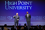 "High Point University President Dr. Nido Qubein (left) introduces Orlando ""Tubby"" Smith (right) as the new men's basketball head coach during a presentation at the Hayworth Fine Arts Center on the campus of High Point University on March 27, 2018 in High Point, North Carolina.  (Brian Westerholt/Sports On Film)"