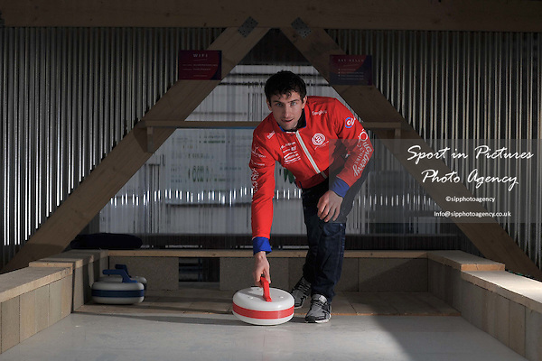Glen Muirhead at the opening of the new rooftop curling centre in East London. Sliders. Roof East. Stratford Shopping Centre. London. England. UK. 03/11/2016. ~ MANDATORY CREDIT Garry Bowden/SIPPA - NO UNAUTHORISED USE - +44 7837 394578