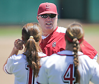STANFORD, CA - April 30, 2011:  Head Coach John Rittman giving players some instruction during Stanford's 7-1 loss to Washington at Stanford, California on April 30, 2011.