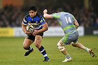 Ben Tapuai of Bath Rugby in possession. Anglo-Welsh Cup match, between Bath Rugby and Newcastle Falcons on January 27, 2018 at the Recreation Ground in Bath, England. Photo by: Patrick Khachfe / Onside Images
