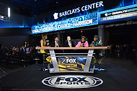 BROOKLYN, NY - DECEMBER 20: (L-R) Kate Abdo,  Shawn Porter and Ray Mancini interview Jermall Charlo (pink) and Jermell Charlo (green) on set as they attend the Fox Sports and Premier Boxing Champions press conference for the December 22 Fox PBC Fight Night at the Barclay Center on December 20, 2018 in Brooklyn, New York. (Photo by Anthony Behar/Fox Sports/PictureGroup)