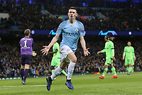 Manchester City's Phil Foden celebrates scoring his sides sixth goal <br /> <br /> Photographer Rich Linley/CameraSport<br /> <br /> UEFA Champions League Round of 16 Second Leg - Manchester City v FC Schalke 04 - Tuesday 12th March 2019 - The Etihad - Manchester<br />  <br /> World Copyright &copy; 2018 CameraSport. All rights reserved. 43 Linden Ave. Countesthorpe. Leicester. England. LE8 5PG - Tel: +44 (0) 116 277 4147 - admin@camerasport.com - www.camerasport.com