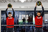 (L-R) Federico Fernandez and Kyle Bartley exercise in the gym during the Swansea City Training at The Fairwood Training Ground, Swansea, Wales, UK. Thursday 15 February 2018