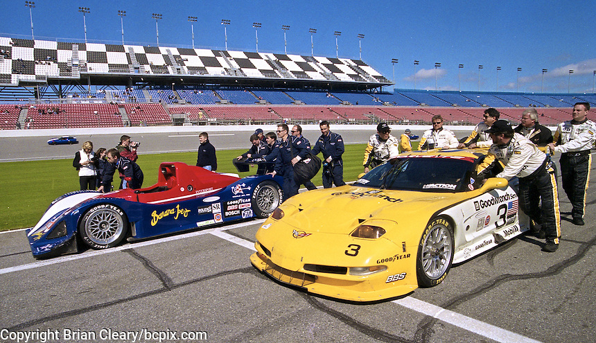 The #3 Corvette of Ron Fellows, Justin Bell and Chris Kneifel is pushed  to the grid for the Rolex 24 at Daytona, Daytona International Speedway, Daytona Beach, FL, February 2000.  (Photo by Brian Cleary/www.bcpix.com)