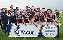 Stenhousemuir players celebrate winning the League One Play Off Final and avoiding relegation.
