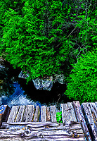 Aerial view from rail trail in Ansted, West Virginia to water and rocks