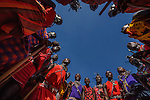 Maasai men singing in a circle, Losho Village, Kenya