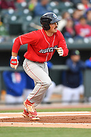 First baseman Brett Barber (8) of the Lakewood BlueClaws runs toward first in a game against the Columbia Fireflies on Friday, May 5, 2017, at Spirit Communications Park in Columbia, South Carolina. Lakewood won, 12-2. (Tom Priddy/Four Seam Images)