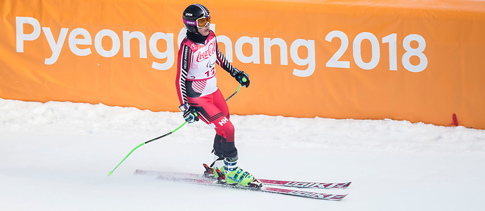 PyeongChang 10/3/2018 - Alana Ramsay skis in the women's standing downhill at the Jeongseon Alpine Centre during the 2018 Winter Paralympic Games in Pyeongchang, Korea. Photo: Dave Holland/Canadian Paralympic Committee