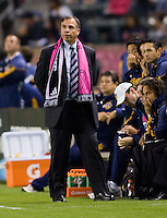Bruce Arena headcoach of the LA Galaxy pacing the sideline. The Colorado Rapids defeated the LA Galaxy 3-1 at Home Depot Center stadium in Carson, California on Saturday October 16, 2010.