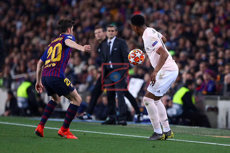 UEFA Champions League 2018/2019.<br /> Quarter-finals 2nd leg.<br /> FC Barcelona vs Manchester United: 3-0.<br /> Sergi Roberto vs Anthony Martial.