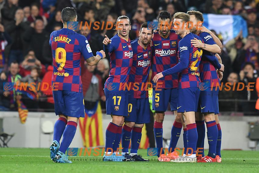Lionel Messi, Antoine Griezman,Sergio Roberto, Frenkie de JOng, Luis Suarez <br /> celebration goal <br /> 07/12/2019 <br /> Barcelona - Maiorca<br /> Calcio La Liga 2019/2020 <br /> Photo Paco Largo Panoramic/insidefoto <br /> ITALY ONLY