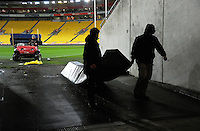 Stadium ground staff clean up after the Super Rugby final match between the Hurricanes and Lions at Westpac Stadium, Wellington, New Zealand on Saturday, 6 August 2016. Photo: Dave Lintott / lintottphoto.co.nz