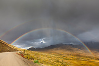 Double rainbow arcs over the Denali Park road and autumn tundra in front of the Alaska range mountains in Denali National park, interior, Alaska.