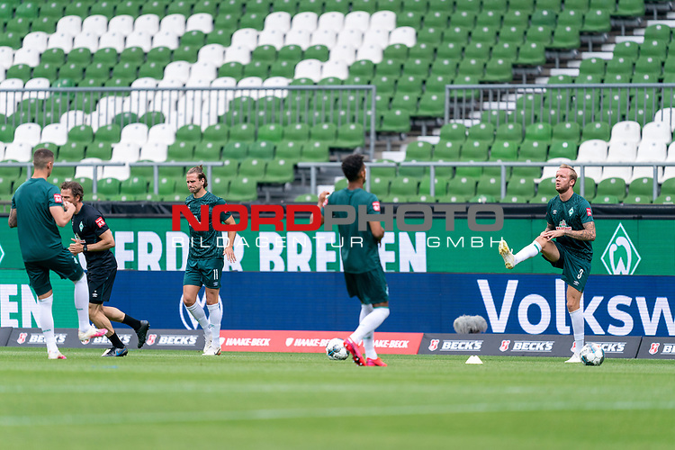 Kevin Vogt (Werder Bremen  #03), Theodor Gebre Selassie (Werder Bremen #23), Niclas Füllkrug / Fuellkrug (Werder Bremen #11), Marco Friedl (Werder Bremen #32)<br /> <br /> <br /> Sport: nphgm001: Fussball: 1. Bundesliga: Saison 19/20: 34. Spieltag: SV Werder Bremen vs 1.FC Koeln  27.06.2020<br /> <br /> Foto: gumzmedia/nordphoto/POOL <br /> <br /> DFL regulations prohibit any use of photographs as image sequences and/or quasi-video.<br /> EDITORIAL USE ONLY<br /> National and international News-Agencies OUT.