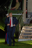 United States President Donald J. Trump exits Marine One on the South Lawn of the White House on October 1, 2018 in Washington, DC. Trump is returning from a Make America Great Rally in Johnson City, Tennessee. <br /> Credit: Tasos Katopodis / Pool via CNP