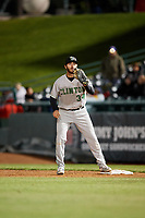 Clinton LumberKings first baseman Nick Zammarelli (34) waits to receive a throw during a game against the South Bend Cubs on May 5, 2017 at Four Winds Field in South Bend, Indiana.  South Bend defeated Clinton 7-6 in nineteen innings.  (Mike Janes/Four Seam Images)