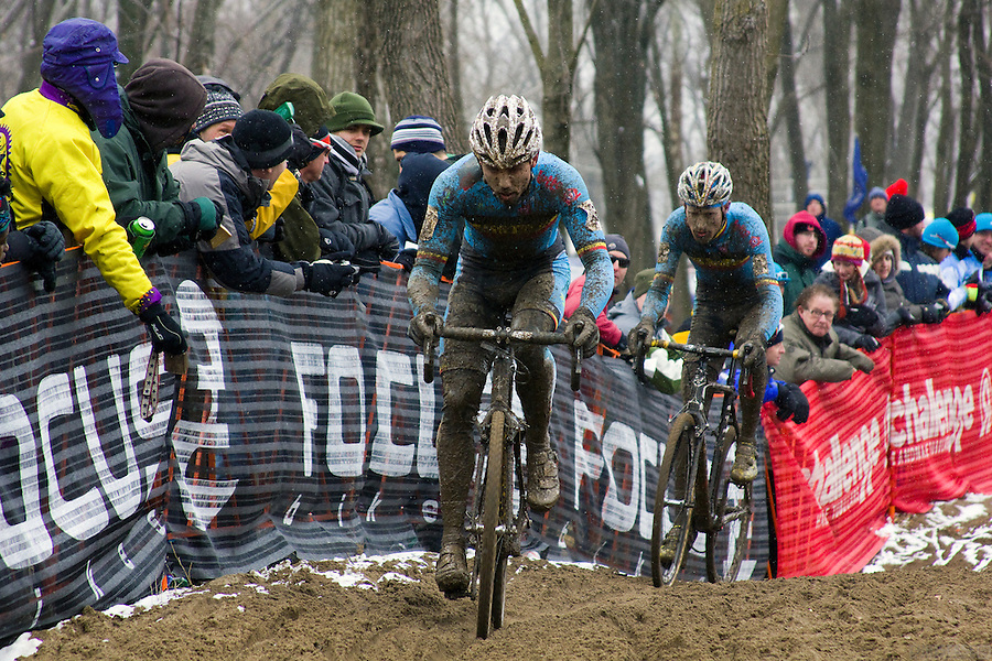 Sven Nys and Klaas Vantornout battle at the 2013 World Cyclocross Championships, Louisville, Kentucky.