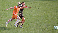 Kelly Parker (left) and Tina DiMartino (right) chase down the ball. FC Gold Pride defeated Sky Blue FC 1-0 at Buck Shaw Stadium in Santa Clara, California on May 3, 2009.