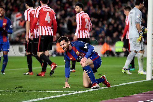 11.01.2017, Nou Camp, Barcelona, Spain. Copa del Rey, 2nd leg. FC. Barcelona versus Athletico Bilbao.  Leo Messi is dumped on the ground by a heavy tackle during the match