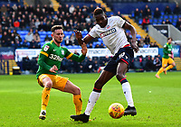 Preston North End's Alan Browne competes with Bolton Wanderers' Sammy Ameobi<br /> <br /> Photographer Richard Martin-Roberts/CameraSport<br /> <br /> The EFL Sky Bet Championship - Bolton Wanderers v Preston North End - Saturday 9th February 2019 - University of Bolton Stadium - Bolton<br /> <br /> World Copyright &copy; 2019 CameraSport. All rights reserved. 43 Linden Ave. Countesthorpe. Leicester. England. LE8 5PG - Tel: +44 (0) 116 277 4147 - admin@camerasport.com - www.camerasport.com