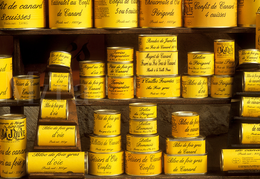 goose liver, foie gras, can, France, Perigord, Dordogne, Aquitaine, Europe, Sarlet-la-Caneda, Cans of foie gras (goose liver) are displayed on a shelf in a store in the medieval village of Sarlet-la-Caneda.