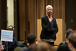 Ericka Huggins, from the World Trust, speaks at the annual Diversity Forum, Tuesday, April 30, 2019 in the Lincoln Park Student Center. (DePaul University/Jeff Carrion)