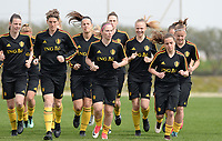 20180304 - LARNACA , CYPRUS :  Belgian team with Aline Zeler , Jana Coryn , Sarah Wijnants and Davina Philtjens (r) pictured during a Matchday -1 training from The Belgian Red Flames prior to their game against Austria , on Sunday 4 March 2018 at the Alpha Sports Grounds in Larnaca , Cyprus . This will be the third game in group B for Belgium during the Cyprus Womens Cup , a prestigious women soccer tournament as a preparation on the World Cup 2019 qualification duels. PHOTO SPORTPIX.BE | DAVID CATRY