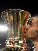 Calcio, finale Tim Cup: Milan vs Juventus. Roma, stadio Olimpico, 21 maggio 2016.<br /> Juventus&rsquo; Leonardo Bonucci kisses the trophy at the end of the Italian Cup final football match between AC Milan and Juventus at Rome's Olympic stadium, 21 May 2016. Juventus won 1-0 in the extra time.<br /> UPDATE IMAGES PRESS/Isabella Bonotto