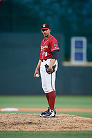 Altoona Curve relief pitcher Jesus Liranzo (19) looks in for the sign during a game against the Richmond Flying Squirrels on May 15, 2018 at Peoples Natural Gas Field in Altoona, Pennsylvania.  Altoona defeated Richmond 5-1.  (Mike Janes/Four Seam Images)