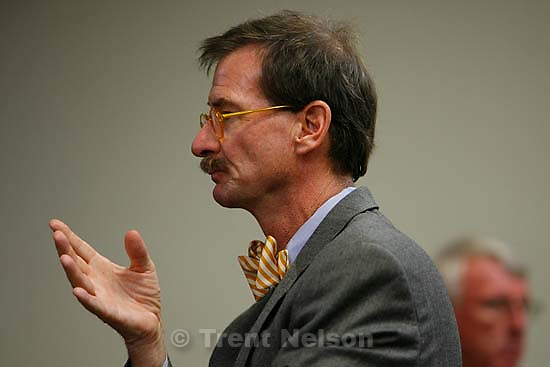 The Warren Jeffs' trial in St. George, Utah. Jeffs, head of the Fundamentalist Church of Jesus Christ of Latter Day Saints, is charged with two counts of rape as an accomplice for allegedly coercing the marriage and rape of a 14-year-old follower to her 19-year-old cousin in 2001.. defense attorney Walter Bugden