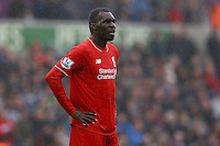 Christian Benteke of Liverpool shows a look of dejection during the Barclays Premier League match between Swansea City and Liverpool played at the Liberty Stadium, Swansea on 1st May 2016