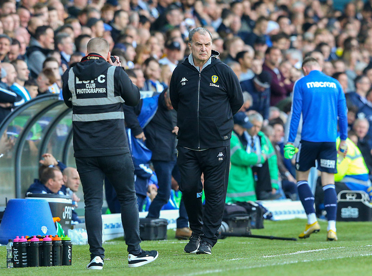 Leeds United manager Marcelo Bielsa paces the touchline before kick off<br /> <br /> Photographer Alex Dodd/CameraSport<br /> <br /> The EFL Sky Bet Championship - Leeds United v Millwall - Saturday 30th March 2019 - Elland Road - Leeds<br /> <br /> World Copyright © 2019 CameraSport. All rights reserved. 43 Linden Ave. Countesthorpe. Leicester. England. LE8 5PG - Tel: +44 (0) 116 277 4147 - admin@camerasport.com - www.camerasport.com