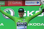 Irish Champion Sam Bennett (IRL) Bora-Hansgrohe takes over the points Green Jersey at the end of Stage 4 of La Vuelta 2019 running 175.5km from Cullera to El Puig, Spain. 27th August 2019.<br /> Picture: Eoin Clarke | Cyclefile<br /> <br /> All photos usage must carry mandatory copyright credit (© Cyclefile | Eoin Clarke)