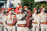 A Palestinian bagpipe band parades during the Orthodox Christmas celebrations at the Church of the Nativity, in the West Bank town of Bethlehem, 06 January 2019. The Church of the Nativity, built on the site where Jesus Christ is believed to have been born in the West Bank city of Bethlehem, is administered jointly by Greek Orthodox, Roman Catholic, Armenian Apostolic, and Syriac Orthodox church. Orthodox believers celebrate Christmas Day on 07 January, according to the Julian calendar. Photo by Ahmad Arouri