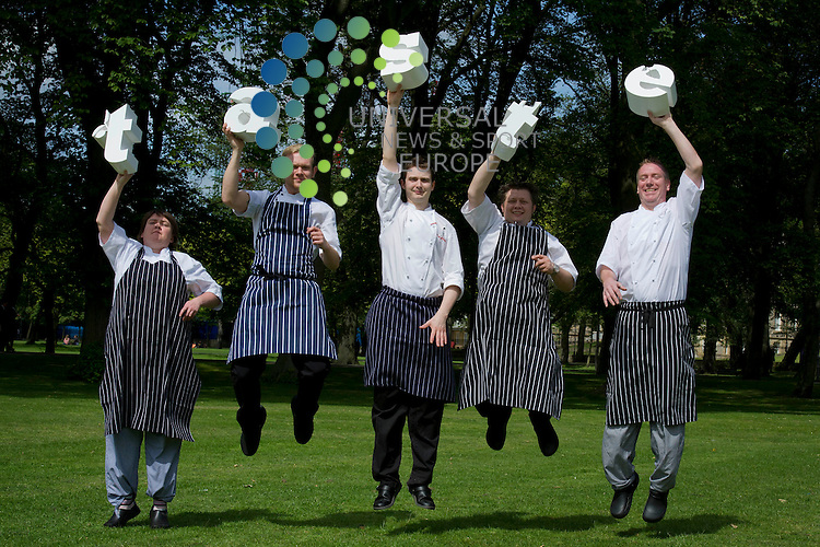 Chefs  at Taste of Edinburgh, Mikey Prentice, Joan Munro, Derek Johnston, Mark Greenwayand Paul Wedgwoodl enjoy the nice weather, Edinburgh, Scotland, 1st July 2011..Picture:Scott Taylor Universal News And Sport (Europe) .All pictures must be credited to www.universalnewsandsport.com. (Office)0844 884 51 22.