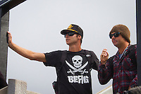 BELLS BEACH, Victoria/Australia (Sunday, April 24, 2011) -Wes Berg (AUS) Joel Parkinson's trainer with Billabong team manager Sasha Stocker (AUS). The final day of the Rip Curl Pro Bells Beach presented by Ford Ranger, the second stop on the 2011 ASP World Title season, has been called on this morning with Round 5 commencing at 7am...in clean 6'-8' surf Joel Parkinson (AUS) took out his third Bells Beach Title defeating good friend Mick Fanning (AUS) in an action packed final. Parkinson finished the event with a perfect 10 point ride. .. - Photo: joliphotos.com