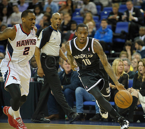 16.01.2014 London, England.  Brooklyn Nets' Guard Tyshawn Taylor [10] in action during the NBA regular season game between the Atlanta Hawks and the Brooklyn Nets from the O2 Arena.