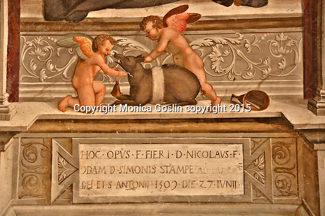 Detail of a fresco in Santa Maria delle Grazie Church built in the 15th century in Gravedona, a town at the northern end of Lake Como, Italy