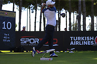 Andy Sullivan (ENG) tees off the 10th tee during Thursday's Round 1 of the 2018 Turkish Airlines Open hosted by Regnum Carya Golf &amp; Spa Resort, Antalya, Turkey. 1st November 2018.<br /> Picture: Eoin Clarke | Golffile<br /> <br /> <br /> All photos usage must carry mandatory copyright credit (&copy; Golffile | Eoin Clarke)