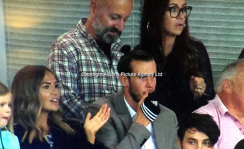 COPY BY TOM BEDFORD<br /> Pictured: Gareth Bale (C) watches the Wales v Ireland game with his fiancee Emma (L) and his furure father in law Martin Rhys-Jones (TOP) at the Cardiff City Stadium. Monday 09 October 2017<br /> Re: Soccer superstar Gareth Bale has finally been reunited with his fiancee's jailbird dad - and the pair were pictured together for the first time.<br /> Bale, 28, was told being seen with multi-million pound fraudster Martin Rhys-Jones could damage his sponsorship deals.<br /> But the pair were spotted cheering on Wales at their World Cup qualifier against the Republic of Ireland in Cardiff.<br /> Bale knew Rhys-Jones, 52, before he was banged up in the States for masterminding an international shares scam.