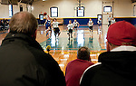 TORRINGTON,  CT, 29 DECEMBER  2011-122911JS01-Parents and grandparents look on as Torrington takes on Litchfield in the championship game during the inaugural Torrington Parks and Recreation's Holiday Tournament in memory of Paul Phelan Thursday at the Torrington Armory. The four-day tournament drew 15 teams from throughout the state. Torrington won the tournament with a 30-16 win over Litchfield. <br /> Jim Shannon Republican-American